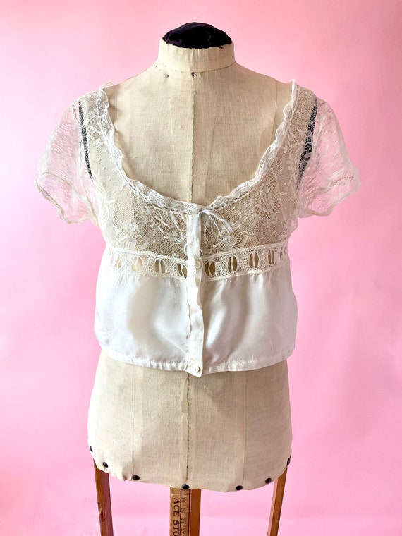 Antique Lace and Silk Camisole Top - image 1