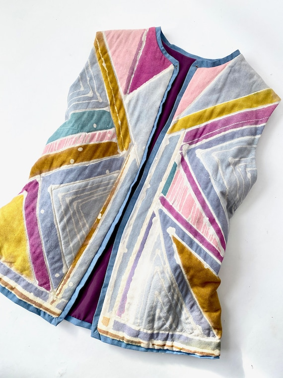 Vintage Quilted Vest / 1980s Vest / Raw Silk Vest