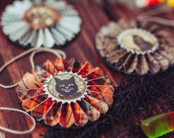 Halloween ornament set,  vintage Halloween tree, fall decor, fall ornament set, autumn ornaments, retro Halloween, paper rosette ornaments