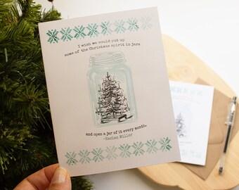 Mason Jar Christmas Card - nostalgic Christmas card set - canning jar holiday greeting -  holiday cards - Christmas greetings