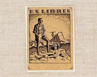 masculine bookplates - mountain book plates - Ex Libris - outdoors bookplate stickers - bookworm for him - custom bookplate - gift under 15