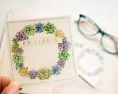 succulent wreath bookplates - plant book plates - ex libris - personalized bookplate stickers - custom book labels - set of 10