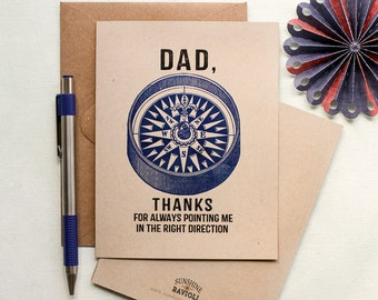 Father's Day Card - Thanks Dad card - Outdoorsy Dad Compass Father's Day Card - gifts for Dad - Dad thank you card