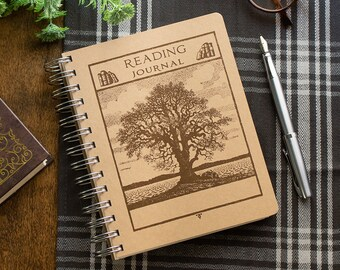 Rustic Tree Reading Journal - Personalized Bookish Gift - Book Tracker - Readers Log - Book Lover Literary Gift - Bookworm Gift