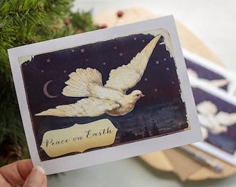 Celestial Dove Christmas card set - Peace on Earth Christmas cards - holiday greetings - holiday notecards boxed set