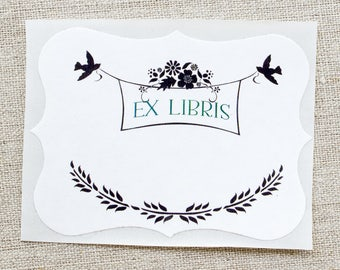 bird bookplates - birds and flowers book plates - Ex Libris - bookplate stickers - gift for book lovers - kids book plates - bookworm gift