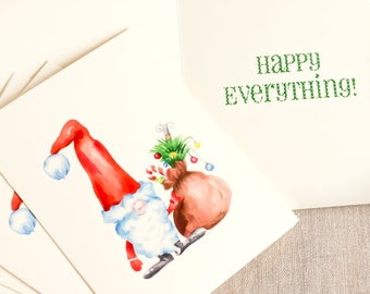 Santa Claus holiday card - happy everything card - holiday greetings - St Nick greeting card - cute holiday card - whimsical Christmas