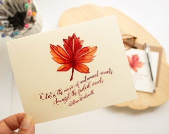 Thanksgiving card - fall  foliage note cards - Autumn greeting card set - Wordsworth quote