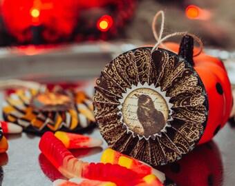 Halloween ornaments, vintage Halloween tree, fall decor, spooky Halloween decorations, autumn ornaments, paper rosette ornament set