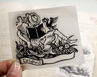 book plates for girls - feminine bookplate stickers - Ex Libris - childrens custom book labels - personalized bookworm for her - set of 10