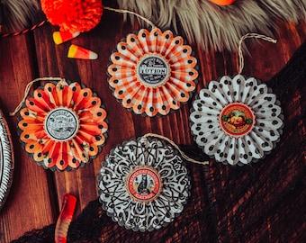 Halloween Ornaments, Vintage Halloween Decor, Halloween Tree Ornament Set, Fall Decorations, Paper Rosettes, Set of 4