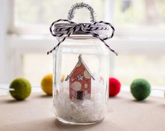 Mason Jar Christmas Ornament - Farmhouse Christmas Ornament - Polka Dot Pattern Miniature Paper House - Christmas Tree Decoration - New Home