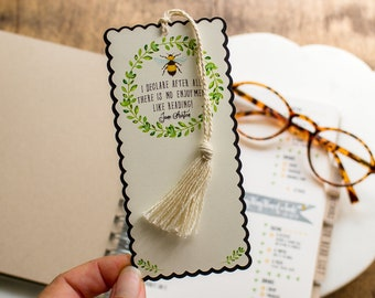 Personalized Jane Austen Bookmark - Custom Bumblebee Book Mark -  small gift for book lovers - bookish gift
