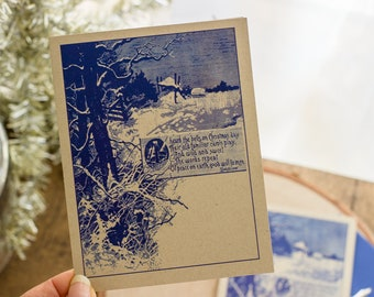 Christmas Cards Boxed Set, Longfellow Quote, Bookish Holiday Cards, Woodland Christmas Greeting, Wraparound Address Labels