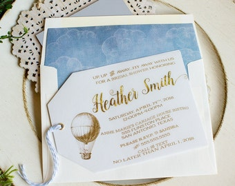 Bridal Shower Invitation Hot Air Balloon Vintage Hinged Shipping Tags gold blue