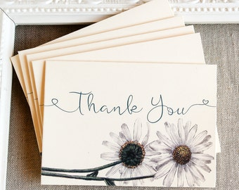 daisy thank you note card set - floral thank you notes - spring wedding thanks