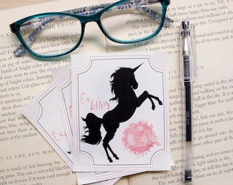 personalized bookplate stickers for kids - unicorn book plates - book labels for children - custom bookplate for girls - set of 10