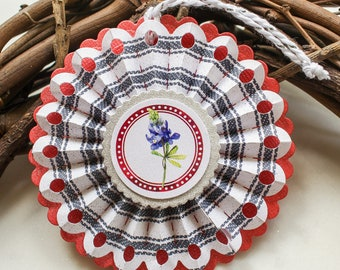 Wildflower rosette ornaments - patriotic decor - paper ornaments - holiday decorations - Texas bluebonnets - Americana party decor