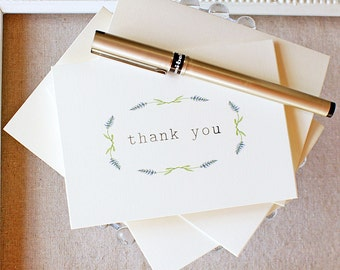 lavender watercolor thank you notes - thank you note card set - wedding thank you cards