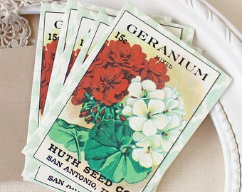 Geranium seed pack notecards - floral note card set - gift for her - summer garden note cards
