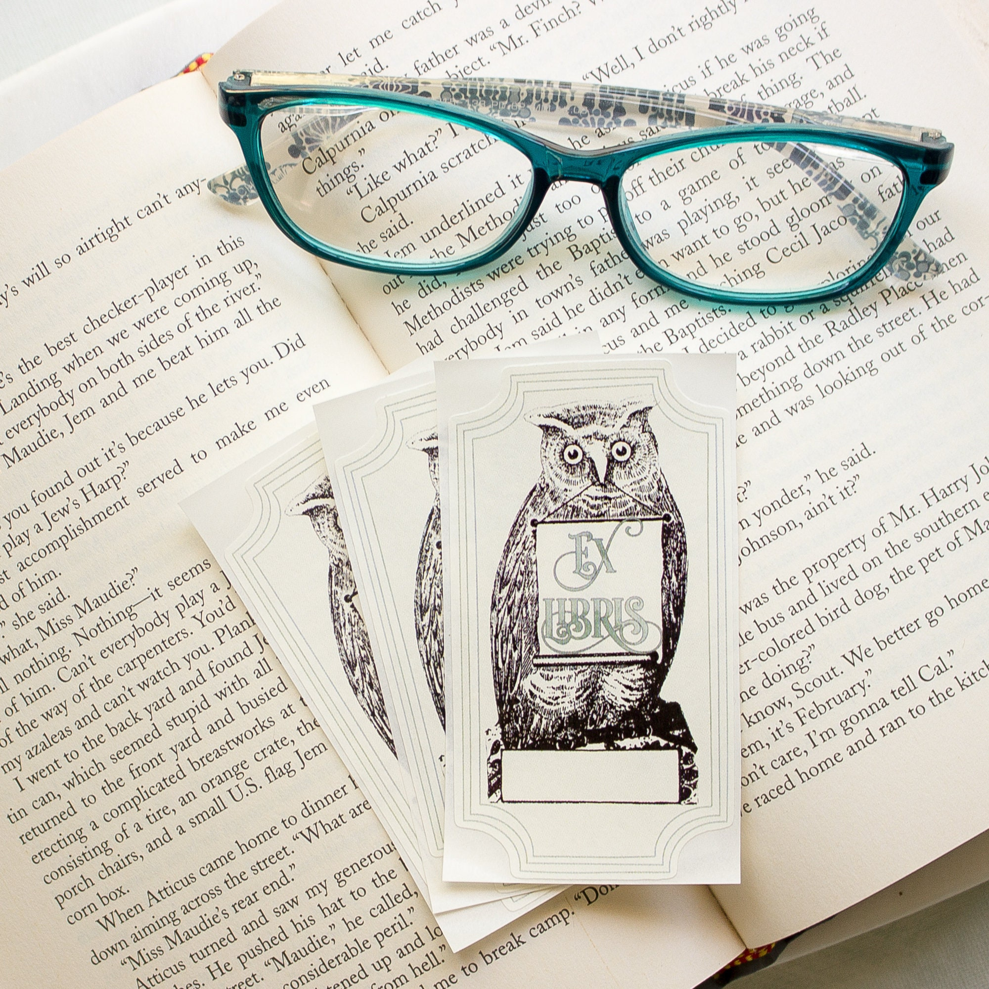 Botanical owl bookplate stickers personalized bird book labels set of ten christmas ornament