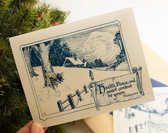 Christmas Cards - boxed set - literary Christmas card - book lovers Christmas cards - woodland holiday cards