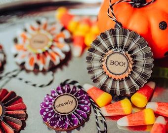 Halloween Ornaments - Vintage Halloween Tree - Fall Decor - Autumn Ornament Set - Retro Halloween - Paper Rosettes - Set of 9