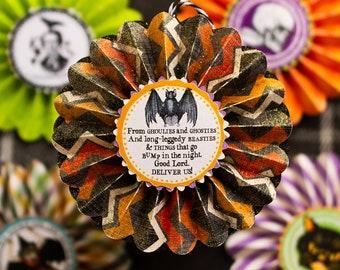 Halloween Ornaments,  Set of 5,  Vintage Halloween Tree, Autumn Ornaments, Retro Halloween, Paper Rosette Ornaments, Edgar Allen Poe