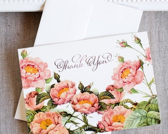 pink roses thank you notes -wedding thank you note cards - blush pink thank you card - botanical thank you notes - garden thank you note set