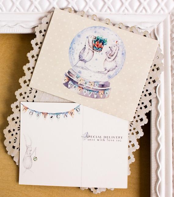 Christmas Postcards.Bunny Rabbit Christmas Post Cards Christmas Postcards Snow Globe Holiday Cards Bunnies Holiday Greetings Rabbits Post Card Set
