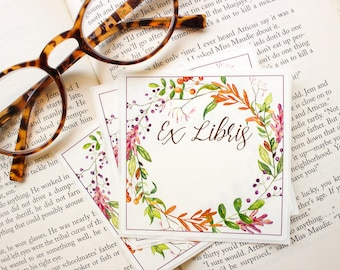 Autumn wreath bookplates - fall book plates - Ex Libris - fall foliage bookplate stickers - book label - bookworm for her - set of 10