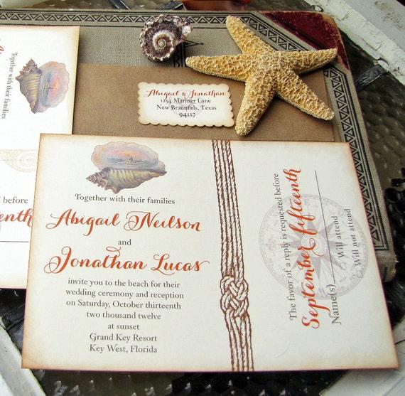 Etsy Beach Wedding Invitations: Items Similar To Vintage Beach Wedding Invitation