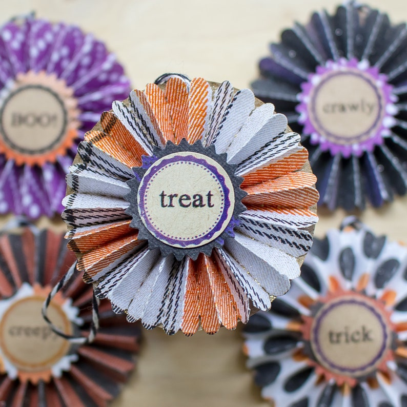 Halloween Ornaments Paper Rosettes Halloween Ornament Set Etsy