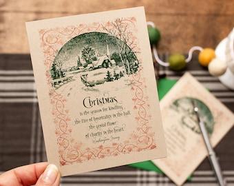 Christmas Cards Boxed Set , Literary Christmas Card , Washington Irving Quote, Nostalgic Holiday Greetings , Set of 8 Cards and Envelopes