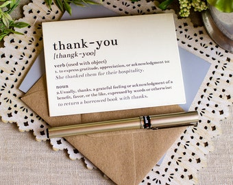 dictionary thank you notes - wedding thank you card set - book lovers thank you note cards