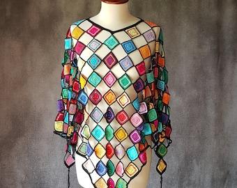 Crochet colorful lightweight poncho, Wrap rainbow, Multicolor Capelet, Boho Poncho Cape, Women Poncho, 260 granny squares, handmade. OOAK