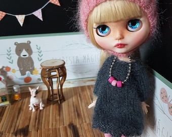 Set 4 items: Knitted Blythe dress, leggings, helmet + Blythe necklace GIFT! Silk and mohair! Clothes for Blythe doll. Complete outfit