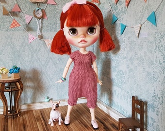 Hand knitted  Blythe jumpsuit. Summer Blythe clothes, blythe doll, overalls for Blythe. Outfit for Blythe. Rompers. One-piece outer garment