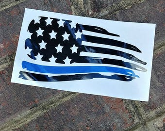 Thin Blue Line Flag Decal//Police//America//Support