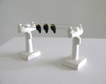 Black Birds on a Wire  - Miniature Ceramic Telephone Pole Sculpture