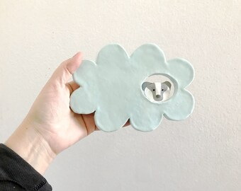 Badger in a Cloud - ceramic wall hanging