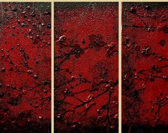 Original Triptych Wall Art Abstract Modern Contemporary Japanese Inspired Textured Red Black Home Decor Made To Order