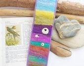 Felted Sheep Bookmark with Rainbow Landscape Hills. Keepsake Book Marker. Handmade in Scotland
