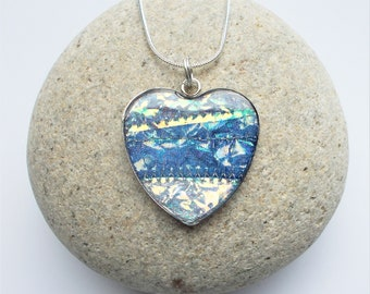 Heart Shaped Necklace Pendant in Iridescent Navy Blue and Silver with Snake Chain and Gift Box. Handmade with Textile and Resin.