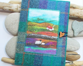 Harris Tweed Covered Notebook, Handmade with Cottage and Sheep Artwork Printed on Velvet, A5 with Removeable Plain Paper Notebook Included