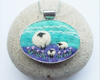 Felt Sheep Pendant, Needle Felted Necklace, Felt Jewellery made with Turquoise and Purple Hand Dyed Wool Fibres.