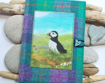 Puffin Harris Tweed Covered Notebook, Handmade with Artwork Printed on Velvet, A5 size with Removeable Plain Paper Page Notebook Included