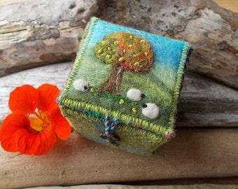 Trinket Box Harris Tweed and Felt with Sheep and Apple Tree