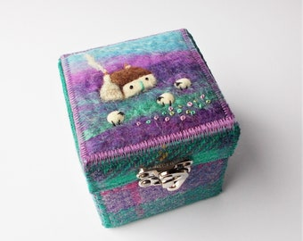 Keepsake Trinket Box, Handmade with Harris Tweed Featuring Needle Felted Cottage and Sheep. Closes with a Latch Hook Clasp.