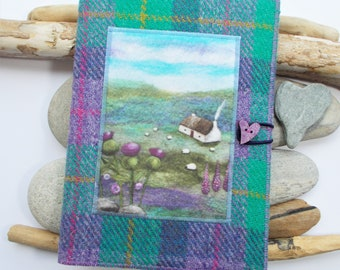 Covered Notebook, Handmade with Harris Tweed Featuring Sheep and Thistle Artwork Printed on Velvet, A5 Removeable Plain Paper Pages Included